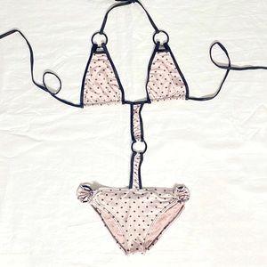 Other - Pink black polka dot one piece bikini swimsuit